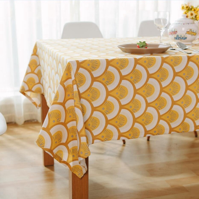 Geometric Yellow Fish Scale Pattern Tablecloths European Style Rectangle  Linen Table Cloth Home Dining Decor Elegant