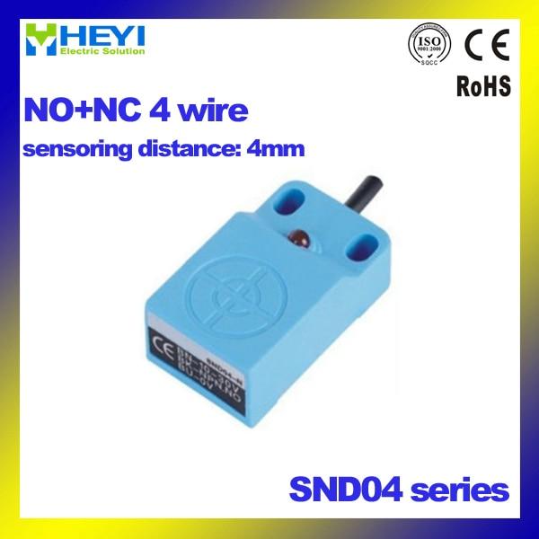 4 wire NO+NC PNP/NPN Square type inductive proximity sensor SND04 18 ...