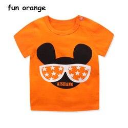 Забавная оранжевая летняя одежда для маленьких мальчиков и девочек, футболки с мультяшным принтом для мальчиков, Детские хлопковые топы, Де...