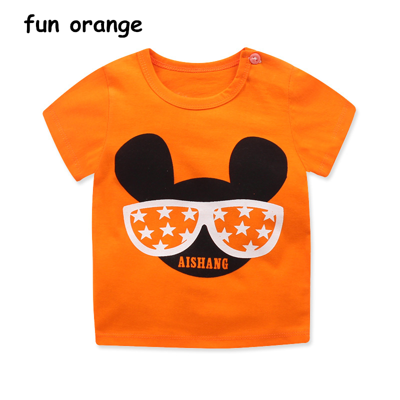 Fun Orange Summer Baby Boy Girl Clothes Boys Cartoon Print T Shirts Children Cotton Tops Kids T-Shirt Girls Short Sleeve Tee cotton blends cartoon bull and letters print round neck short sleeve t shirt