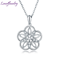 Loving Flower Diamond Pendant Necklace Real 18K White Gold Wholesale Fine Jewelry for Mom Halloween Day Best Gift