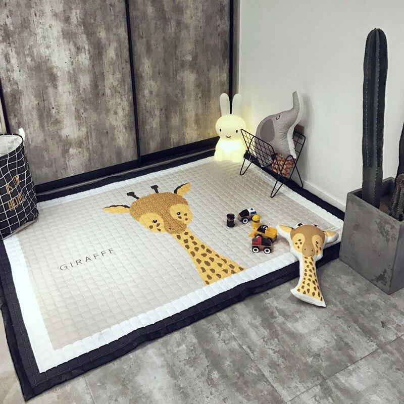 Tapis de Quilting d'impression de girafe de bande dessinée 145x195x1.5cm taille tapis de tissu de Polyester tapis rampant de salon pour des enfants/enfants