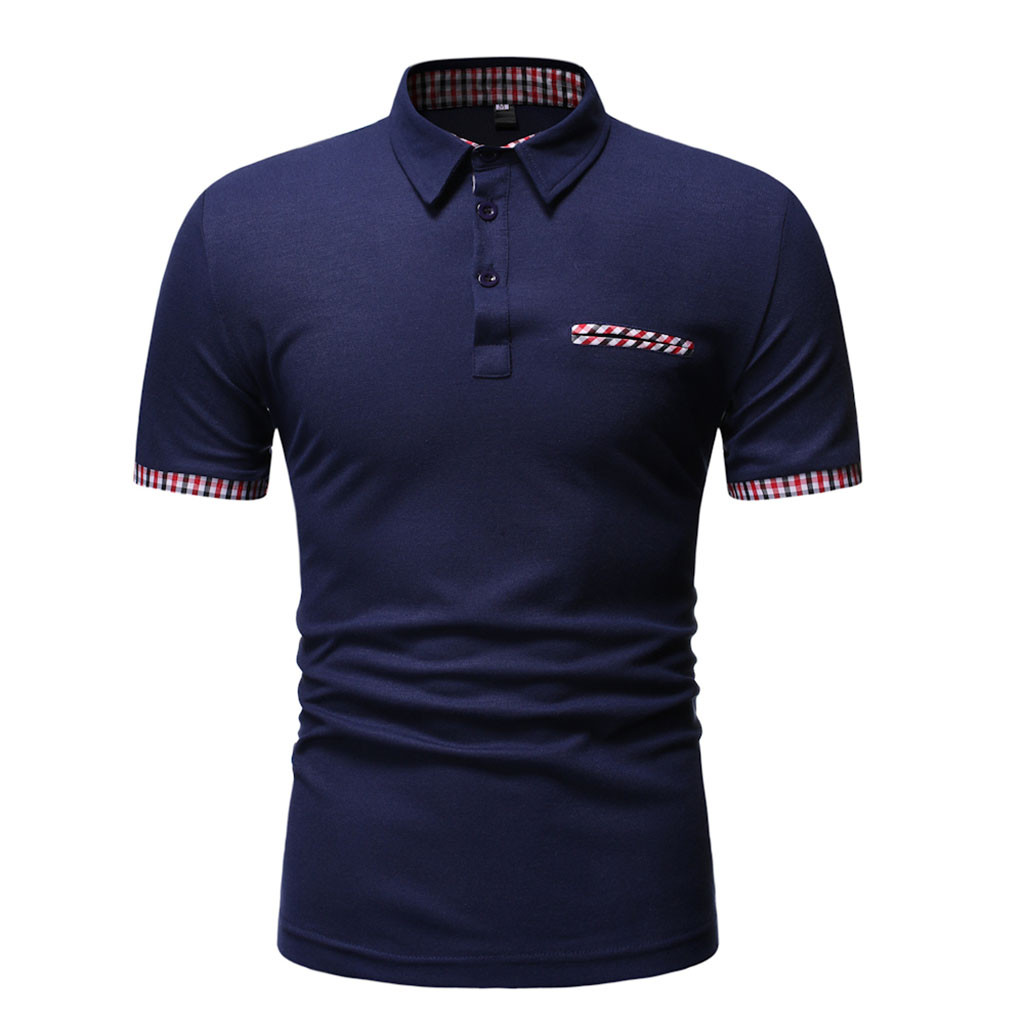 Polo   Shirt Plaid Short Sleeve jerseys Summer Clothes Mens Slim Fit Short Sleeve Sports Turn-down Collar Shirt Top   Polo   Shirt