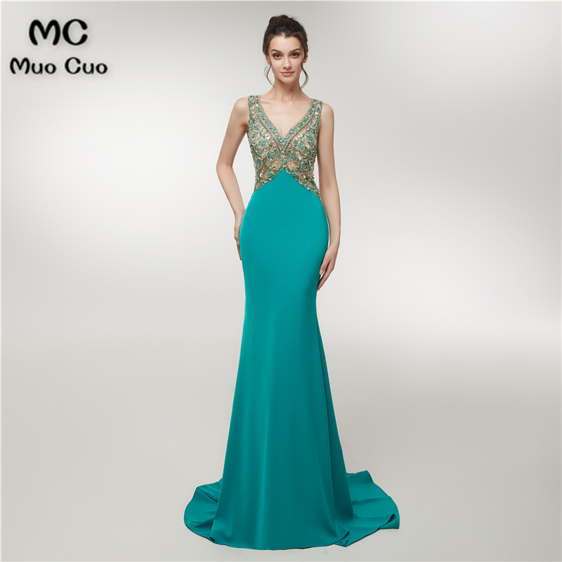 2018 Teal Mermaid   Prom     dresses   Long with Beaded V-Neck Vestidos de fiesta Backless Keyhole Chiffon Women's Evening   Dress