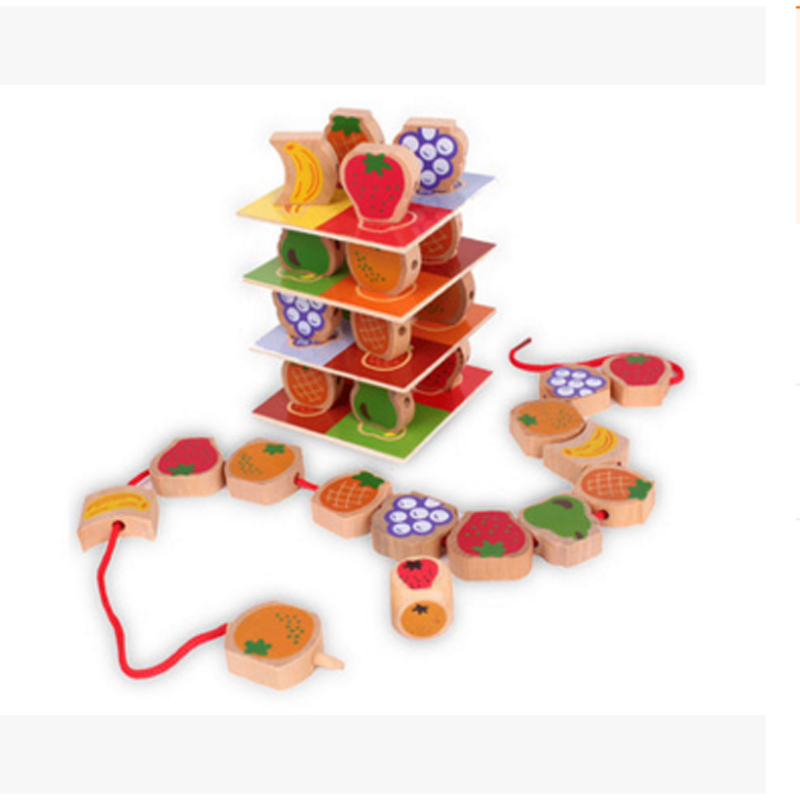 1box Baby Toys Wooden laminated fruit stacks Chain Educational Toys Teaching Set Gift Montessori Math Toys