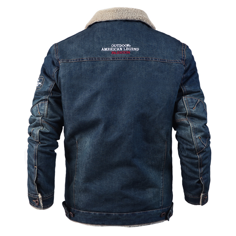 2018 Winter Men Jacket Fashion Casual Thicken Warm Denim Jacket Men Brand Jeans Cowboy Jacket Slim Fit Denim Coats Male Clothing-in Jackets from Men's Clothing    2