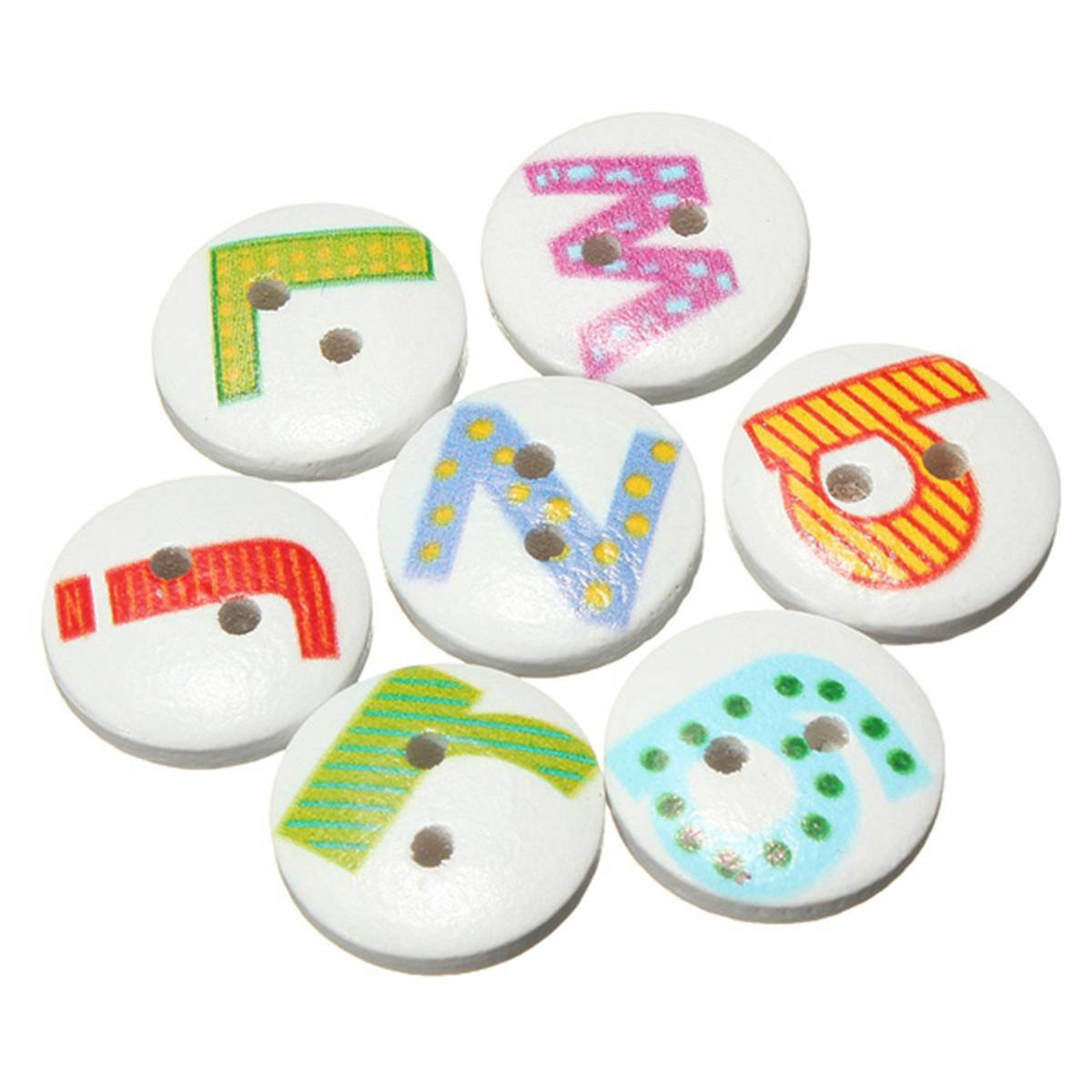 FJS 100Pcs Mixed Painted Letter Alphabet Wooden Sewing Button Scrapbooking