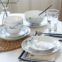 KINGLANG Ceramic 13 Pieces Marble Rice Bowl Flat Plate Dinner Set 4 Person Use