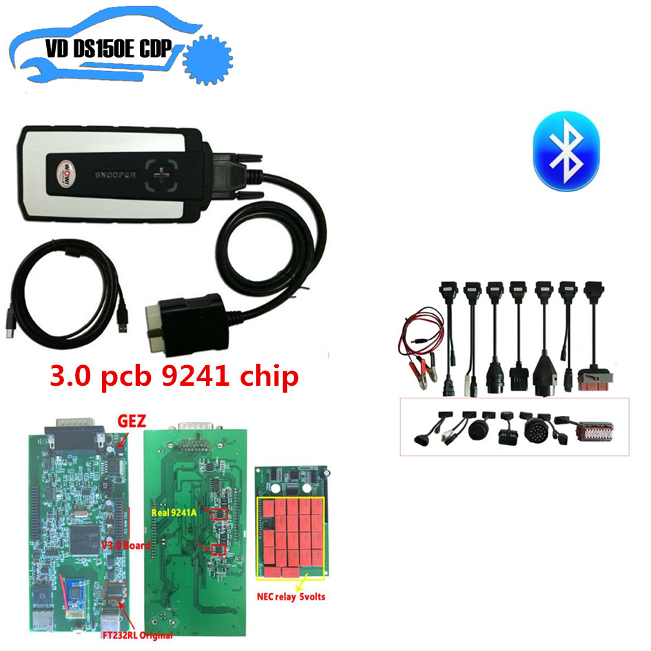 цена на snooper wow 3.0 pcb 9241 chip for delphis ds150e new vci with bluetooth +8 pcs full set car cable for autocoms can choose