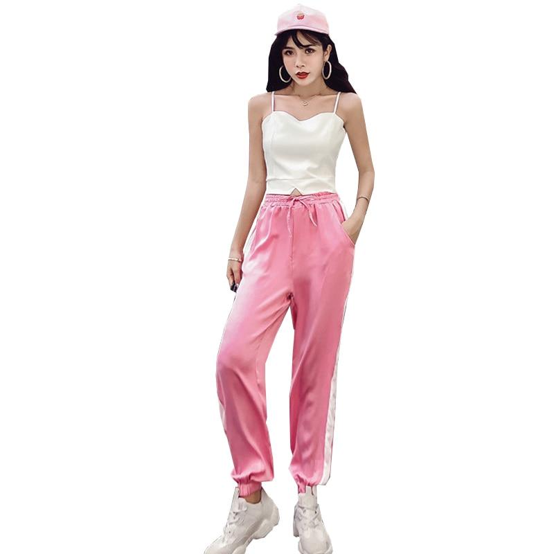 Women's Clothing New Summer Strapless Sleeveless spaghetti strap Vest crop tops+Side Stripe Harem Pants Streetwear Women's Sets 1
