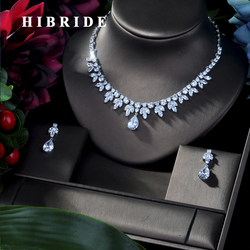 HIBRIDE CLEAR BEST QUALITY BRILLIANT CRYSTAL ZIRCON EARRINGS AND NECKLACE BRIDAL JEWELRY SET WEDDING DRESS ACCESSARIES N-181HIBRIDE CLEAR BEST QUALITY BRILLIANT CRYSTAL ZIRCON EARRINGS AND NECKLACE BRIDAL JEWELRY SET WEDDING DRESS ACCESSARIES N-181