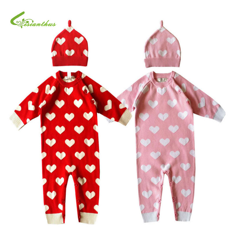 Baby Romper Onesie   Warm for Winter Knitted Sweater and cap set Infant's Climbing Clothes Girl Boys Thick  Cute Print Outwear baby romper thick fleece warm cardigan for winter kids knitted sweater infant s climbing clothes hooded girl boys outwear cl0434