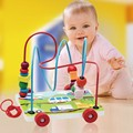 Baby Wooden Toy Mini Around Beads Car Shape Children Kids Colorful Wooden Wire Maze Educational Game Toy