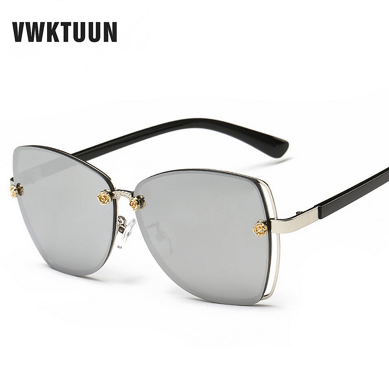 a4b97ca820 VWKTUUN Sunglasses Women Rimless Exaggerated Glasses oculos de sol Mirrored  Lens Sun Glasses Vintage lunette de soleil