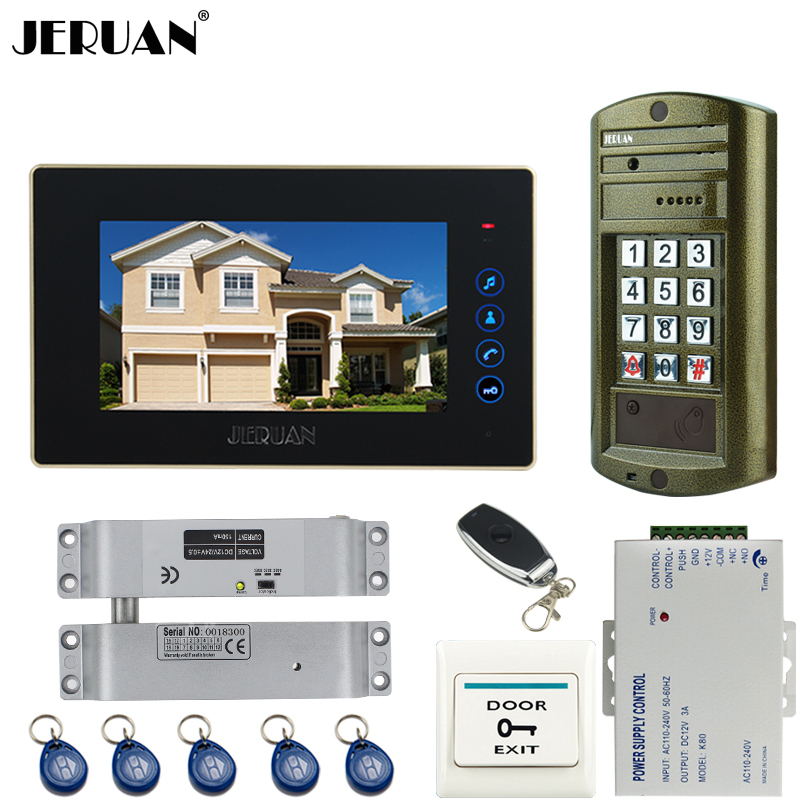 JERUAN Wired 7`` touch key Video Door Phone Intercom System kit Metal panel waterproof password keypad HD Mini Camera +E-lock jeruan wired 7 touch key video doorphone intercom system kit waterproof touch key password keypad camera 180kg magnetic lock