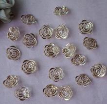 100pcs 7*18mm Beautiful Acrylic Gold Rose Flower Beads With Hole For Hair Peice Tiaras Jewelry  Scrapbooking Craft DIY