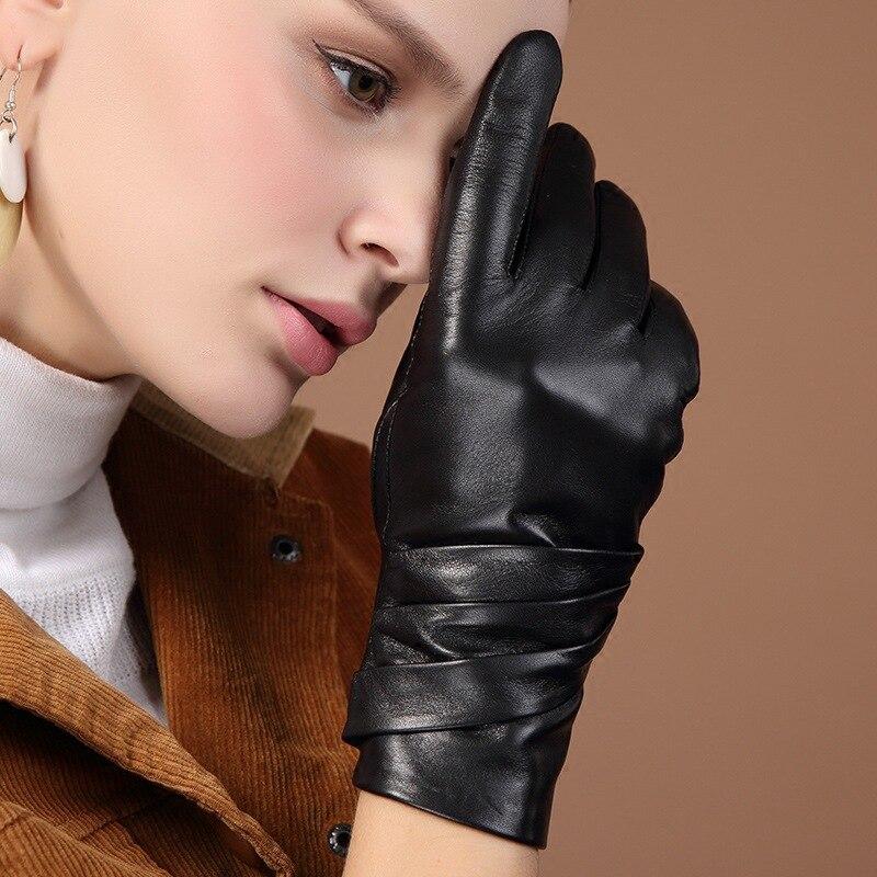Image 3 - Женские перчатки из натуральной кожи, черные перчатки из овчины с пятью пальцами, зимние толстые теплые модные митенки, новинка, BW015Женские перчатки    АлиЭкспресс