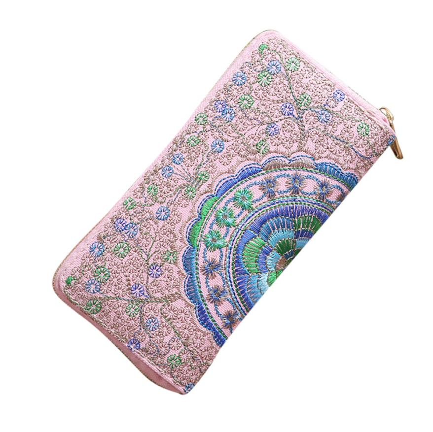 Fashion Women Oxford Embroidery Road Wallet Coin Bag Purse Phone Bag Lady Long Purse Wholesale Drop Shipping #Y 2