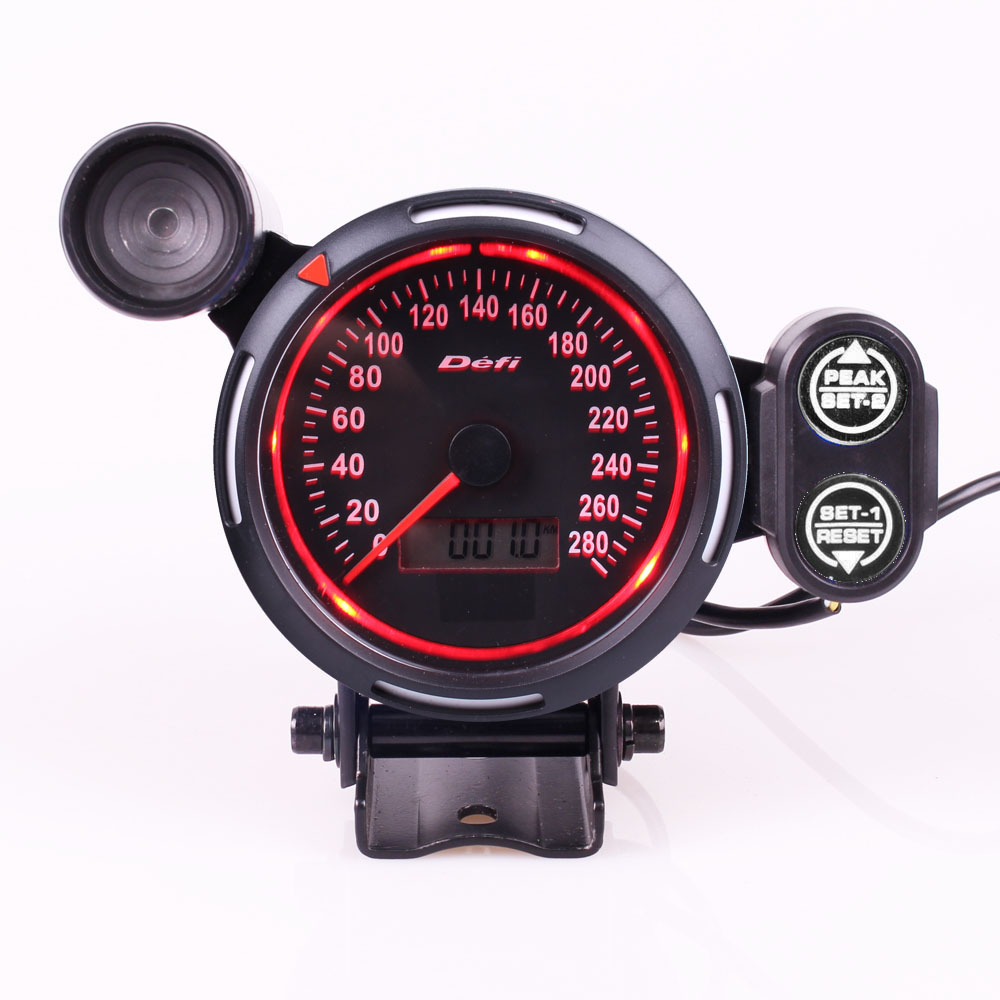 Original Logo Blue And Red LED LCD 80MM MPH Gauge Speedometer Car With Red Shift Light MPH Auto Gauge цена