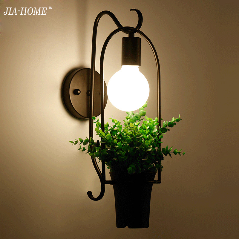 Modern Plant Wall Lamp Mounted Iron Sconce Lighting Lamp for Kids Baby Room Living Room Bedroom Decoration iron lampshade E27 modern cartoon doll wall light led creative mounted iron sconce lighting lamp for kids baby room living room bedroom decoration
