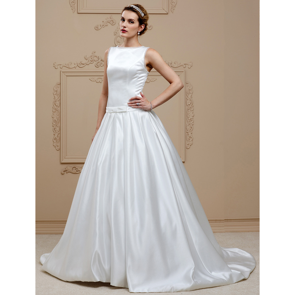 Wedding Gown With Neck Detail: LAN TING BRIDE Ball Gown Wedding Dress Bateau Neck Chapel