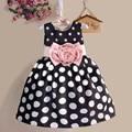 Дети одежда девушки Babys одежды дот-полька цветок ну вечеринку рождения жилет танки платье Vestido S2681