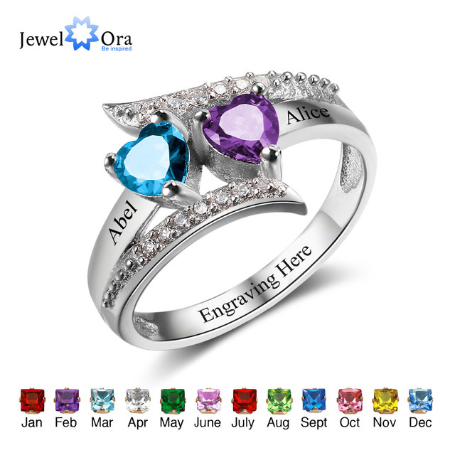 Promise Ring Custom Birthstone Ring Engrave Name 925 Sterling Silver Heart Lover's Rings  Personalised Gift (JewelOra RI102499 )