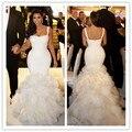 Kim Kardashian Mermaid Sexy 2016Wedding Dresses Bridal Gowns White Spaghetti Straps Trumpet RuffleS Sweep Train Wedding Gowns