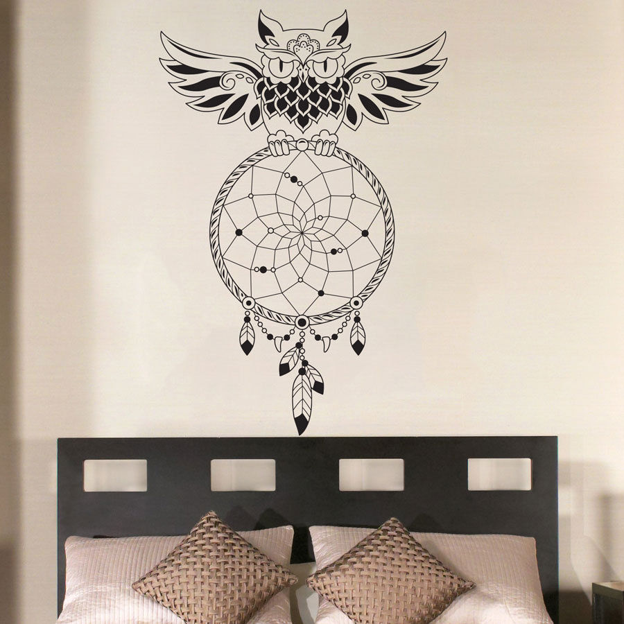 Dream Catcher Bedroom Owl Wall Decal Art Decor Sticker Vinyl Mural Wall  Stickers Home Decor Bedroom Wall Art Stickers Muraux 701 In Wall Stickers  From Home ...