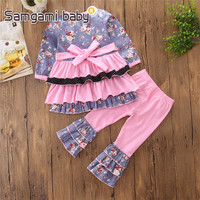 2018 Girls Boutique Outfits Spring And Summer Fashion Style Girl Cute Floral Long Sleeve Dress Pink