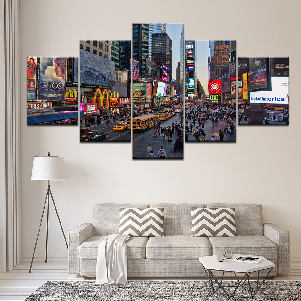 Home Decor Stores New York: Canvas Painting New York City Times Square 5 Pieces Wall