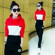 GDA. New Spring Women Hoodies Suits Cotton Two Piece Long Pants Striped Print Warm Sweatshirt Playsuit Large Size XXL F