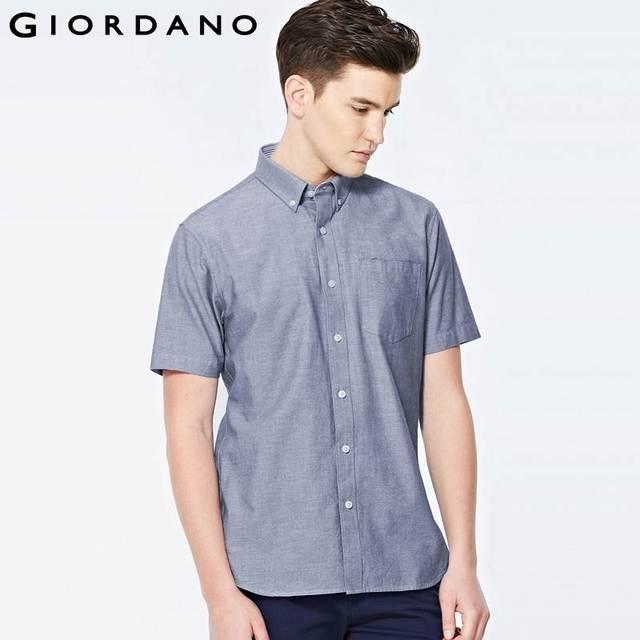 Aliexpress.com : Buy Giordano Men Shirt Oxford Short Sleeves ...