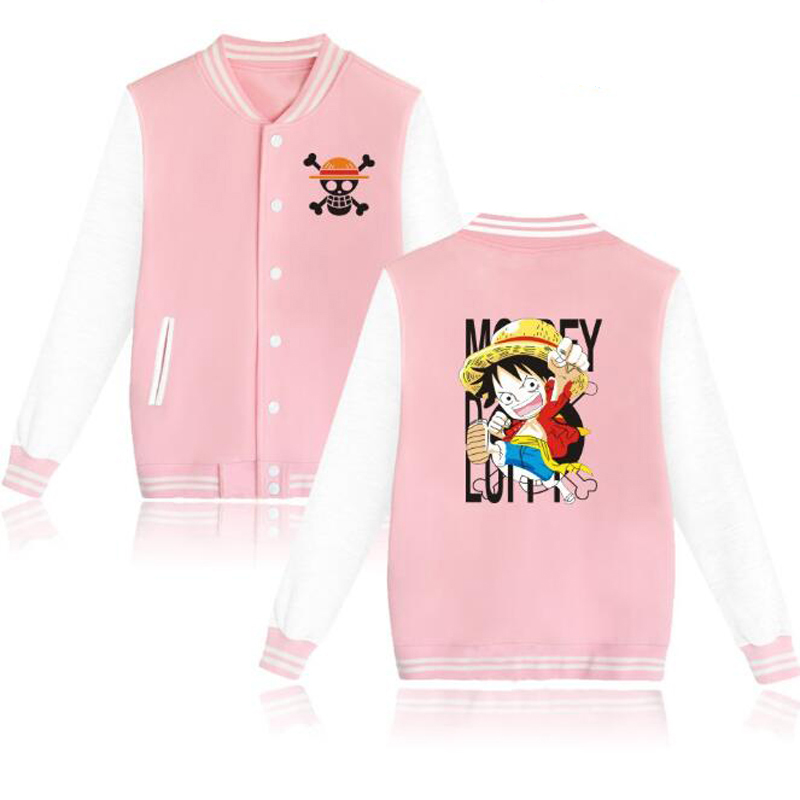 Japanese Anime One Piece Pink Hoodies Luffy Trafalgar Law Ace Sabo Shanks Harajuku Sweatshirt Men Bomber Jacket Baseball Uniform