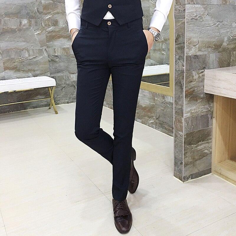 MYAZHOU Autumn Solid color high quality men's suit pants , Men's cotton tight trousers , Slim Men's Simple Casual Pants