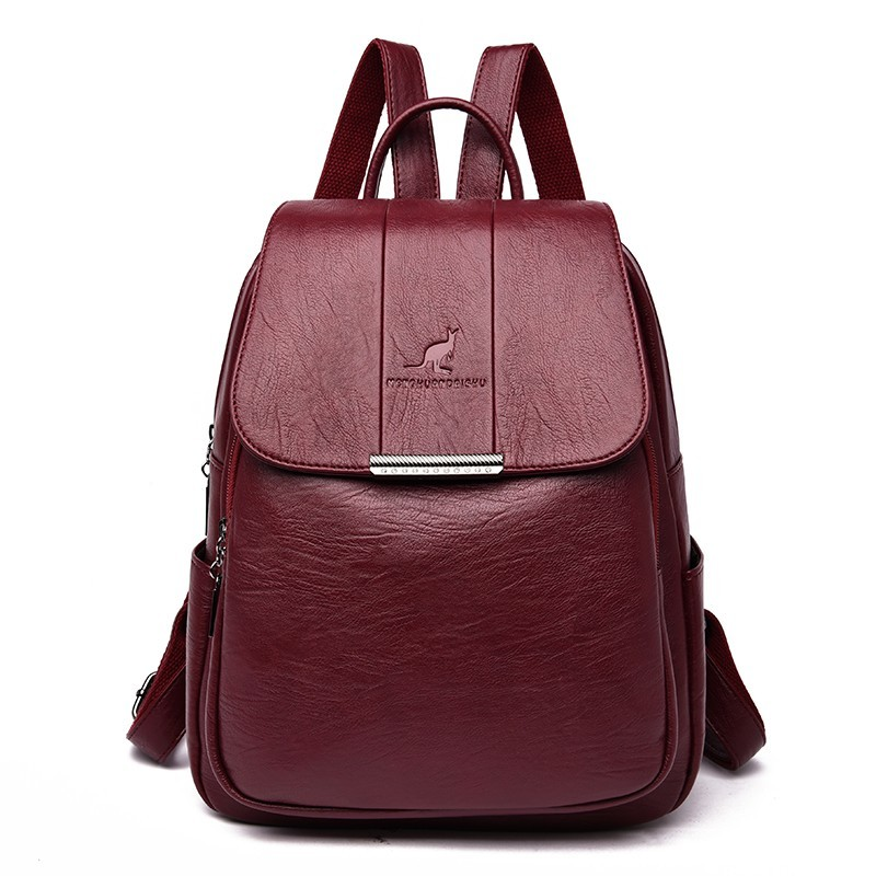 Women Leather Backpacks High Qaultiy Sac A Dos Femme Ladies Bagpack School Bags For Girls Solid Travel Backpacks Rucksack Female