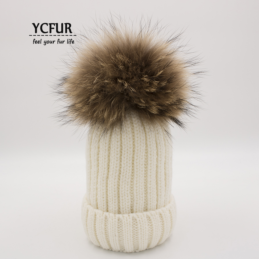 YCFUR Unisex Baby Ages 2-7 Warm Knit Beanie Winter Kids Hat For Children Fur Pom Pom Hats Caps For Girls and Boys new star spring cotton baby hat for 6 months 2 years with fluffy raccoon fox fur pom poms touca kids caps for boys and girls