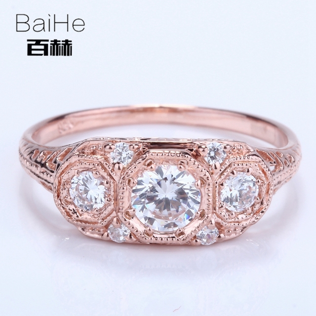 BAIHE Solid 14K Rose Gold(AU585) 0.2CT Certified White  Round CUT AAA Graded Cubic Zirconia Wedding Women Ring
