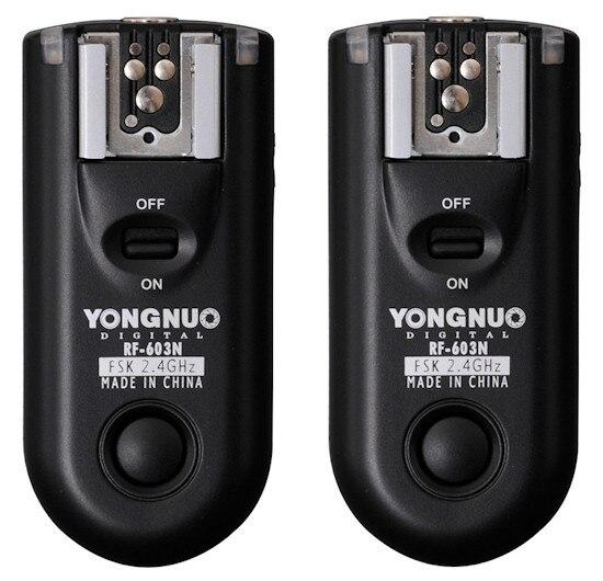 Светодиодная лампа для видеосъемки Yongnuo RF-603 N3, RF603 РФ 603 вспышка триггера 2 трансиверы для NIKON D600 D90 D5000 D5100 D3100 D7000