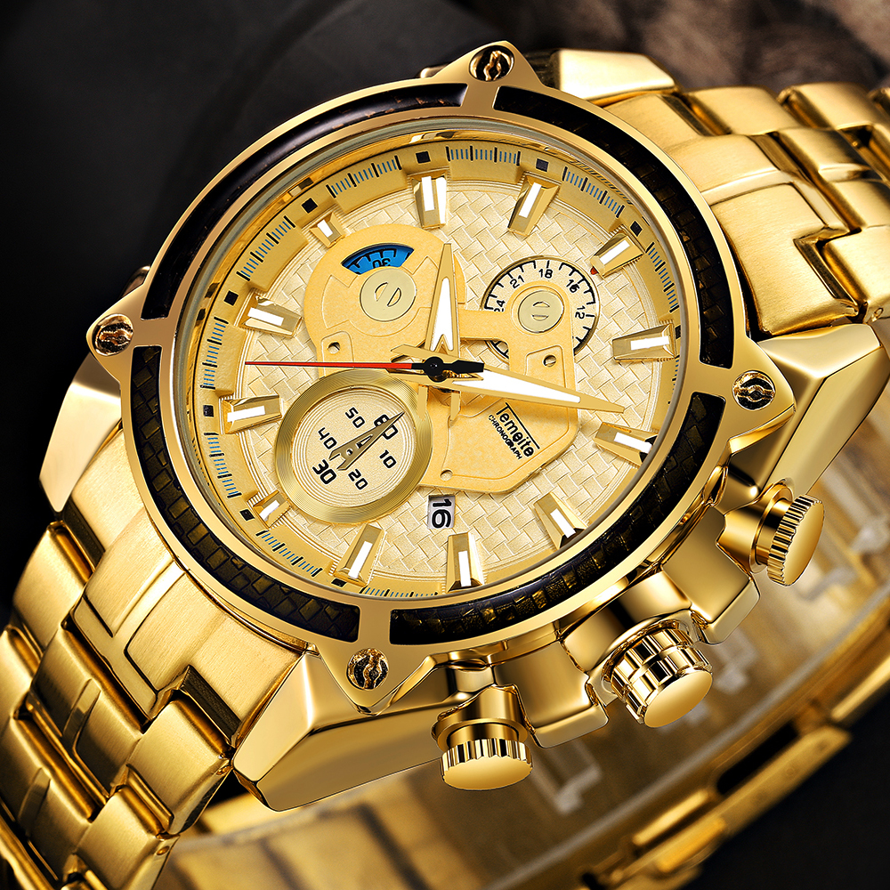 Top Brand Luxury Golden Watches Men Stainless Steel Strap Fashion TEMEITE Waterproof Quartz Wristwatch Calendar Oversize Clock 10