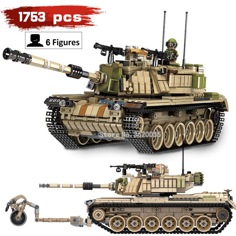 battlefield Corps Main battle M60 MAGACH Big tank 1753pcs compatible legoinglys Military ww2 Building Blocks model figures toy 632004 1753pcs military world war israel m60 magach main battle tank 2in1 ww2 army forces building blocks toys for children gift