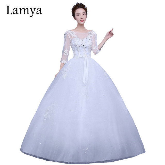 Lamya Half Lace Sleeve Elegant Plus Size Bridal Gowns 2017 Fashionable Princess Wedding Dresses WD2884