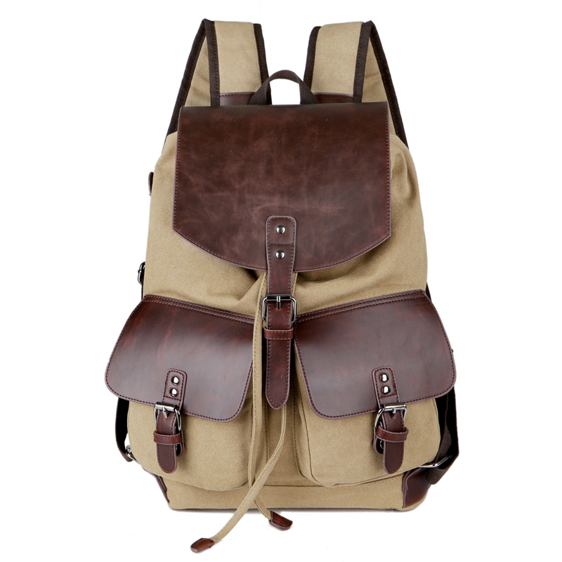 New Canvas Men Travel Backpack Vintage Patchwork Leather Drawstring Backpack Male Large Casual School Bags For Teenage Boys 1351 canvas backpack women for teenage boys school backpack male