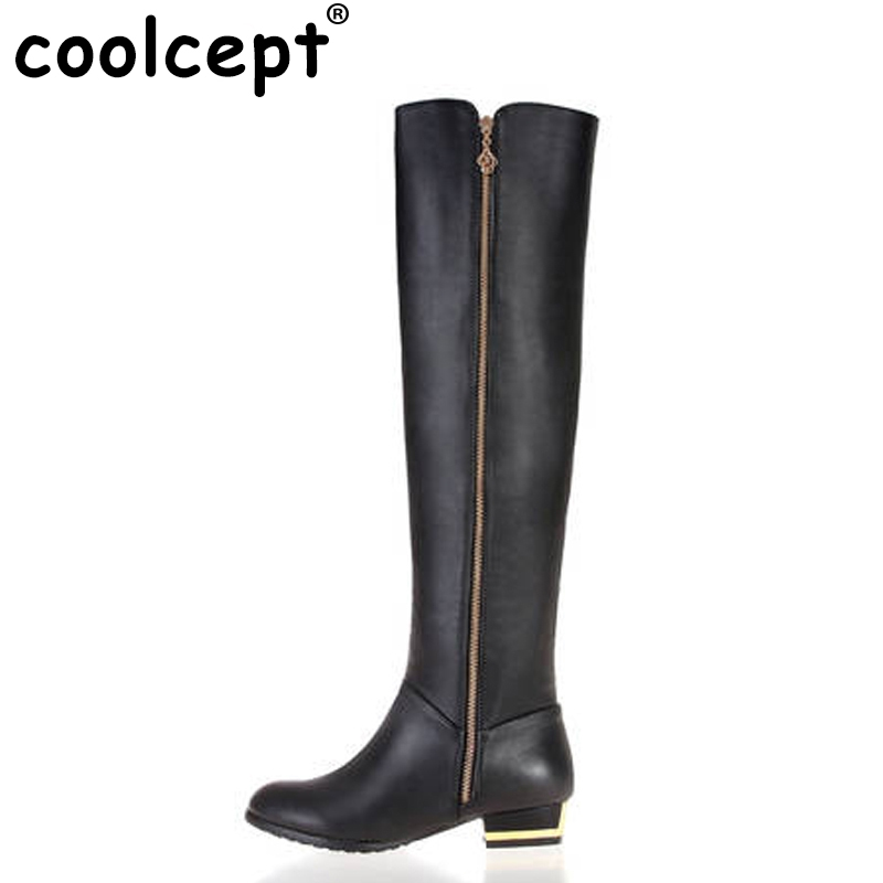 Coolcept Free shipping over knee natrual real genuine leather flat boots women snow warm boot shoes R1537 EUR size 30-45 free shipping over knee high heel boots women snow fashion winter warm footwear shoes boot p15646 eur size 30 49