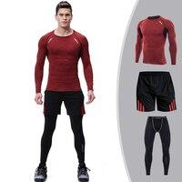 3 Piece Sports Suit Men Compression Clothing Quick Dry Running Sportswear rashgard MMA Male Kit Gym Training Set Long Sleeve