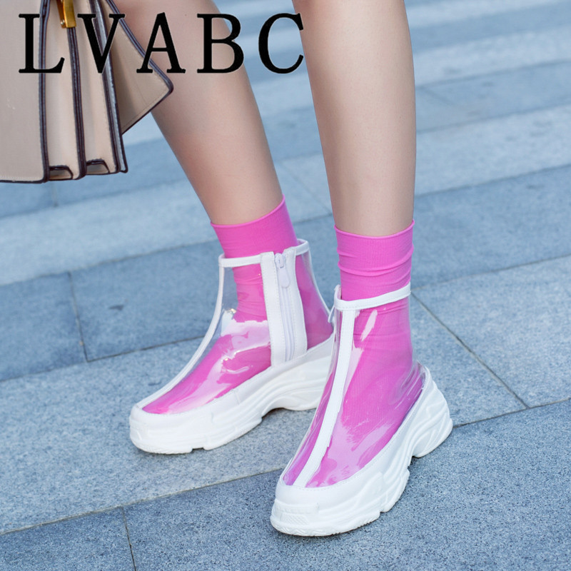 2018 New Flat Platform Ankle Boots Women Transparent Boots Brand Design Round Toe Short Boots Ladies Sneakers Spring Shoes White image