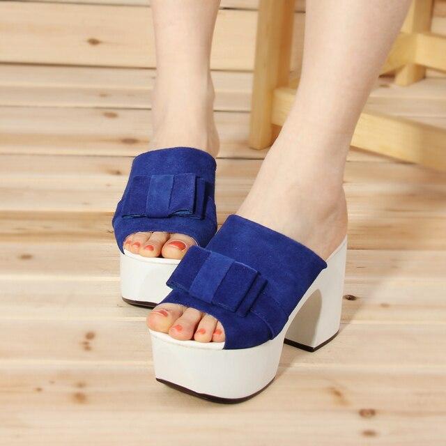2013 women's spring genuine leather shoes fashion platform high-heeled shoes women's platform thick heel shoes open toe shoe