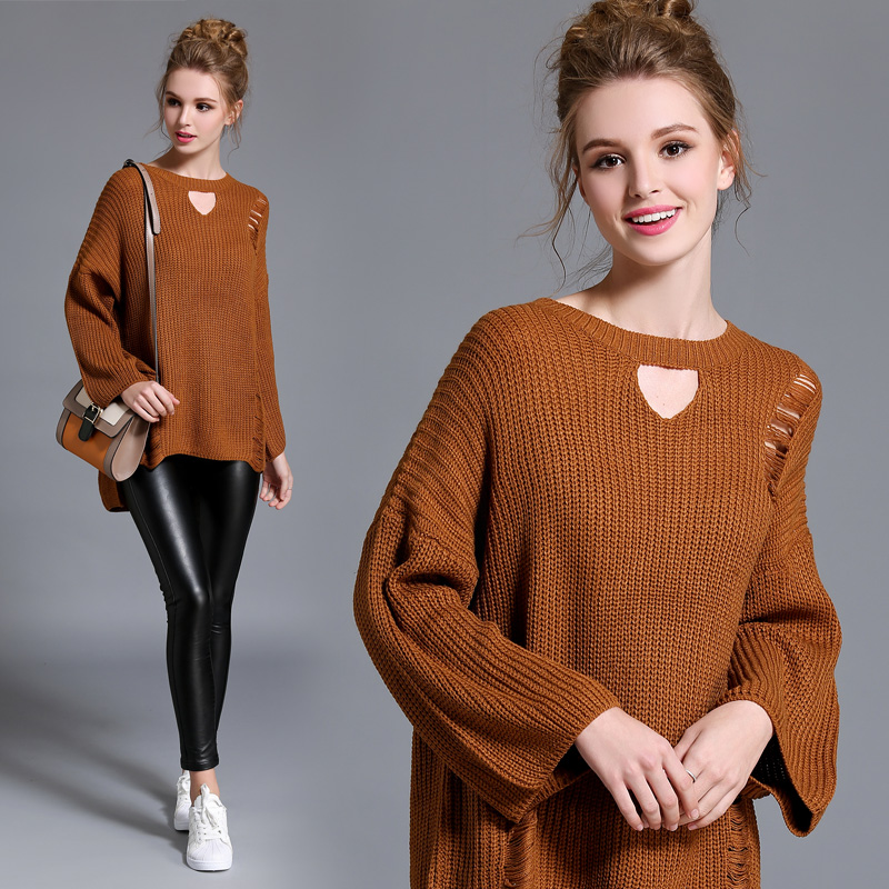 2016 Hot sale Preppy Style Women Sweaters Crew Neck Solid Pullovers Long Sleeve Flare Sleeve Sweater