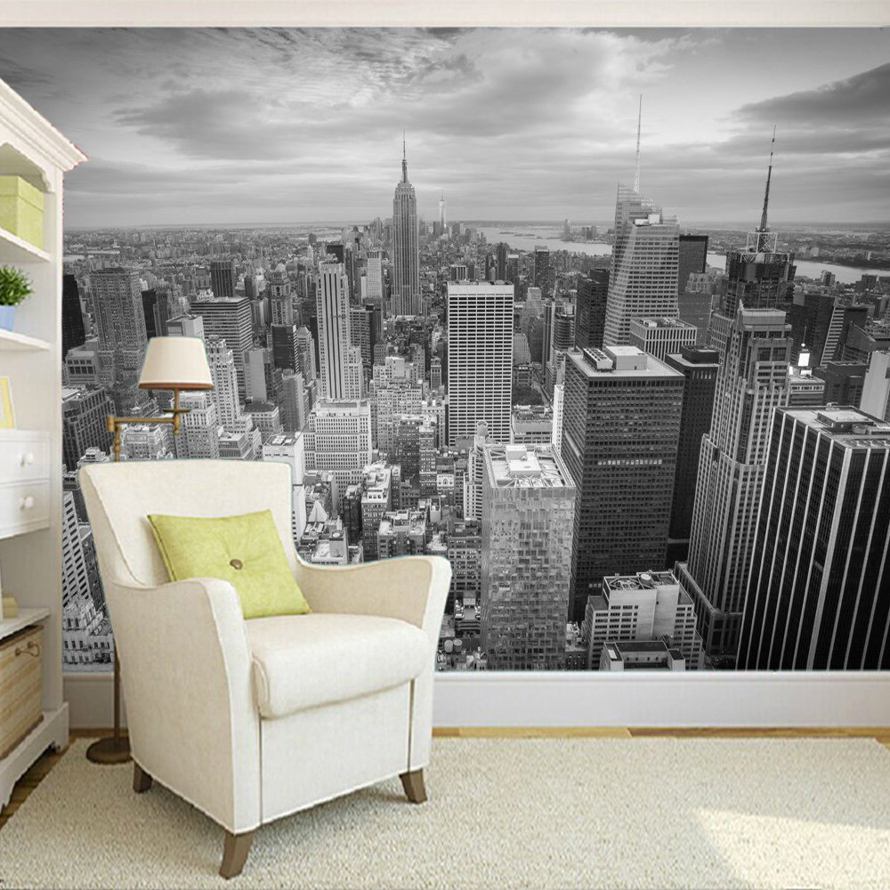 Custom Photo Wallpaper Large Wall Painting Background Wall Paper Black And White City Photography Modern Living Room Art Mural custom photo wallpaper large living room sofa bedroom tv setting wall of modern art wall paper color grid mural wall painting