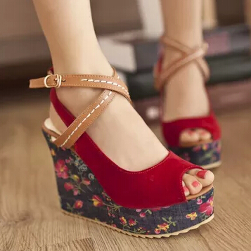 fb528e8ab107 Summer Women Sandals Fresh Floral Print Cloth Wedges High Heel Shoes Peep  Toe Platform Bohemia Wedge